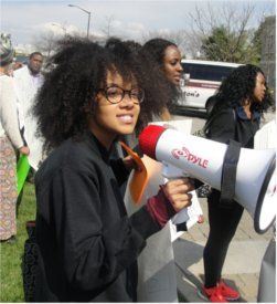 Protesting Charles Murray March 25 at Virginia Tech university.