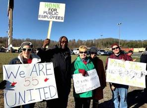 Teachers on the picket line in Beckley, W.Va., Feb. 27.