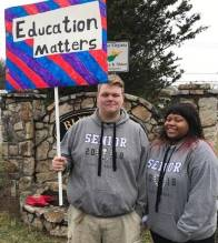 Students on picket line for striking teachers, Bluefield, W.Va., Feb. 26.