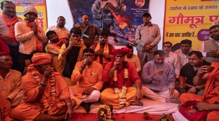 cow urin party to save from corona organized from hindu mahasabha