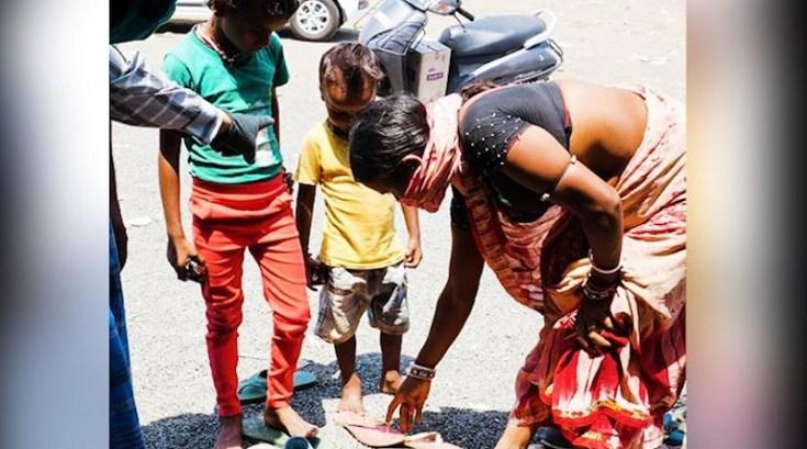 child bare foot at bidisha highway in bhopal