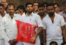 Maruti workers agitated in tau devilal park in march 2017 demanding release of co workers