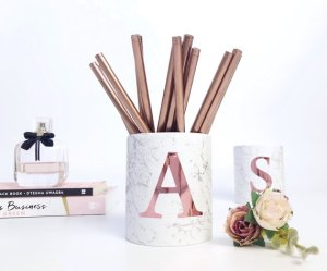 SweetSatsumas Rose Gold Pen Pot monogram gift