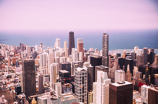 Modern Chicago Skyline Aerial View In Chicago Illinois USA