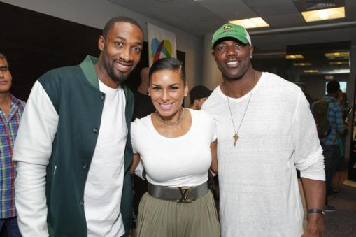 Gilber Arenas, Laura Govan, and Terrell Owens at the GBK Pre-ESPY Award Lounge 2013