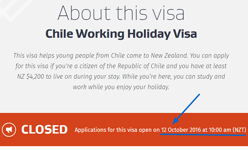 2016 Fecha postulación - 490x297 - Chile Working Holiday Visa Immigration New Zealand