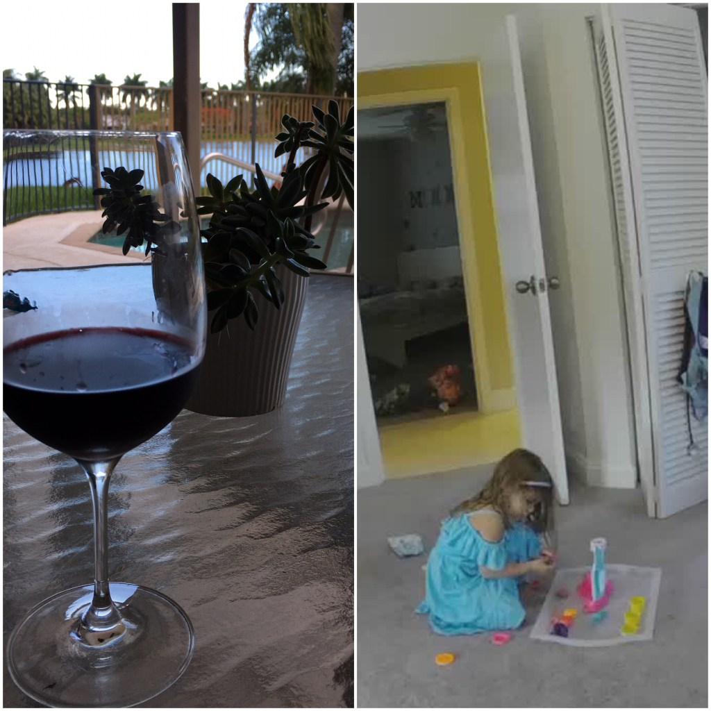 Enjoying wine on the patio while watching (& listening to) my daughter playing in her playroom!