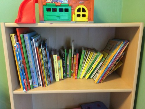 "My son's bookshelf ""after"". He's only 3, so he just has some simple books for now."