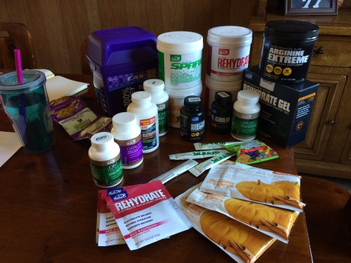 All of the supplements and fuel we brought for our marathon.