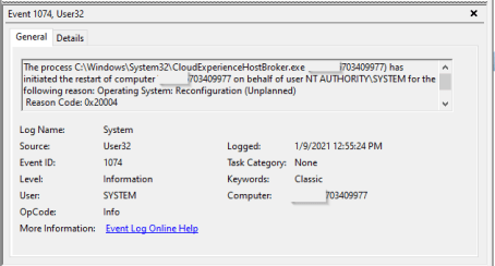 CloudExpierienceHostbroker.exe has initiated the restart to reconfigure the operating system - EventID 1074