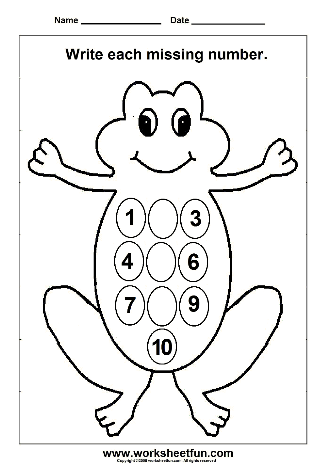 Missing Numbers 1 To 10 1 Worksheet Free Printable