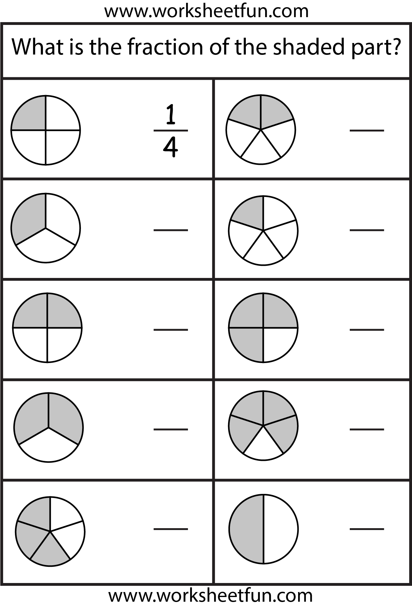 1 2 Fractions Shapes Worksheet