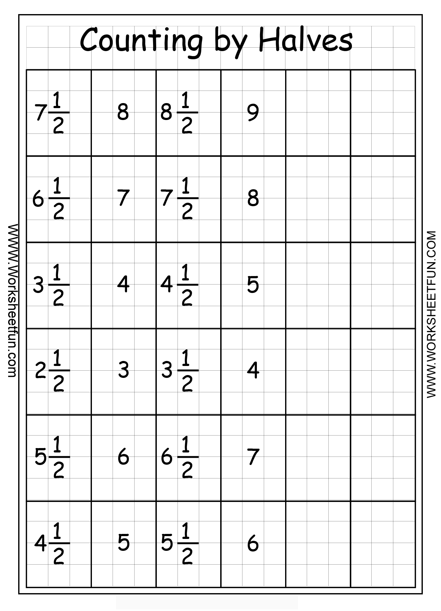 Fractions Counting By Halves Free Printable Worksheets Worksheetfun