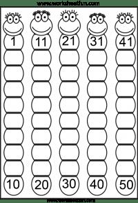 Missing Numbers 1 50 Eight Worksheets Free Printable