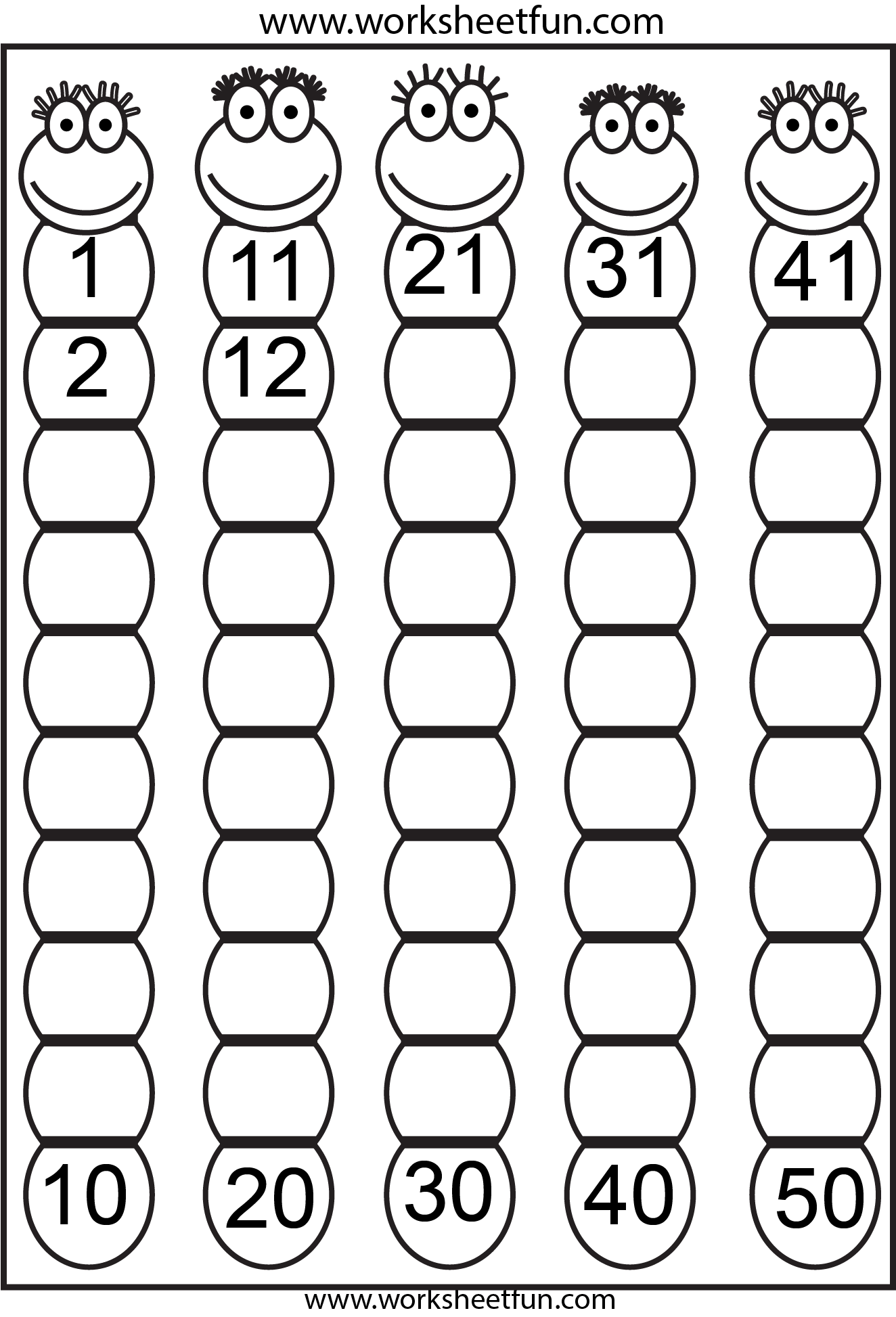 Missing Numbers 1 50 4 Worksheets Free Printable