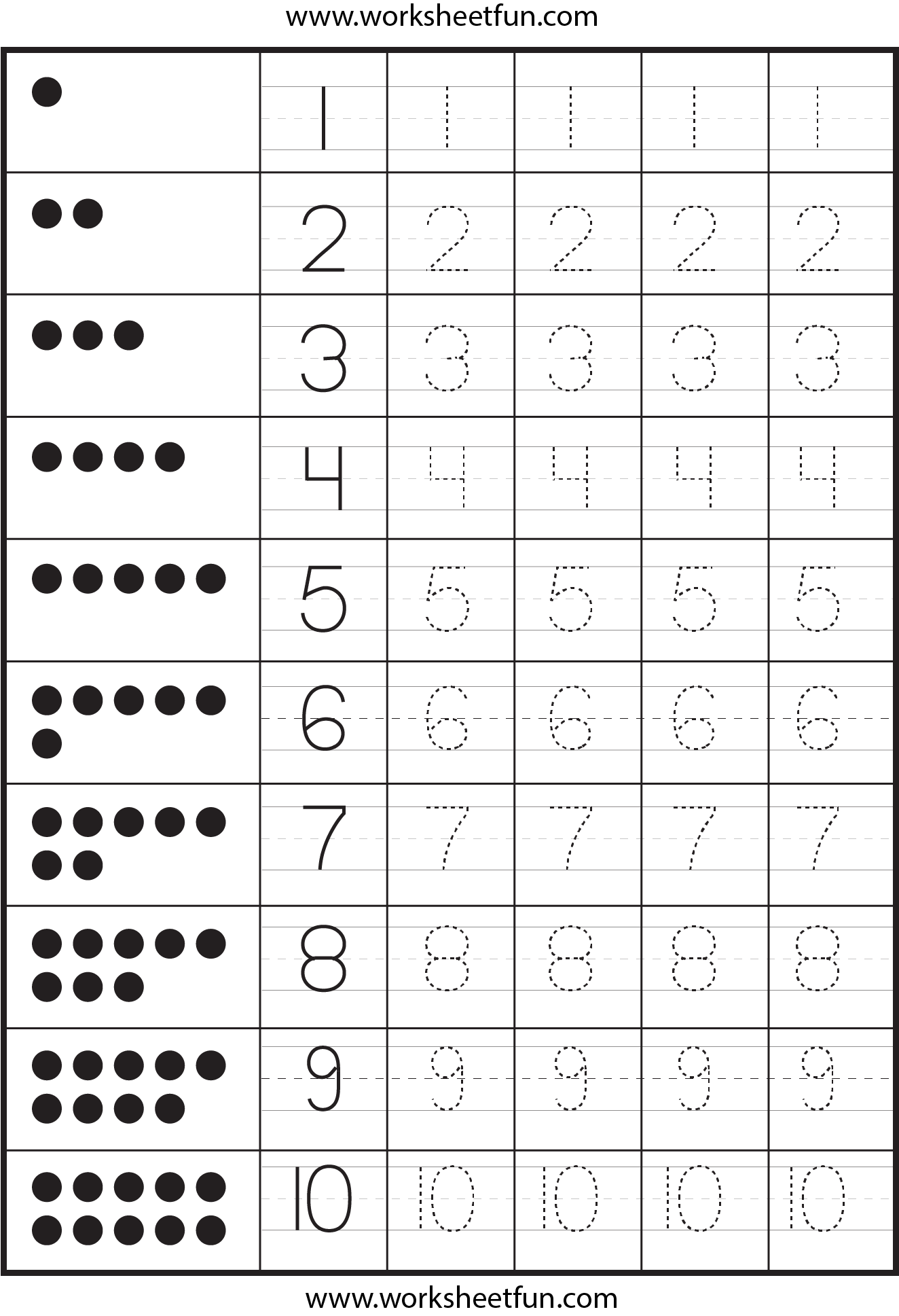 Tracing Number Worksheets 1 100