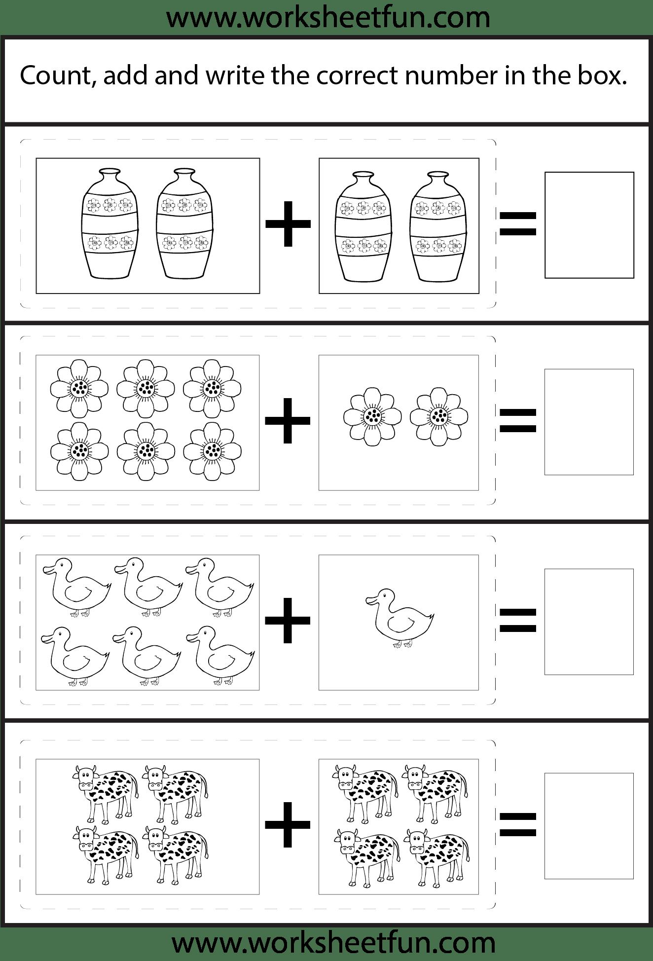 Picture Addition Beginner Addition 4 Kindergarten Addition Worksheets Free Printable