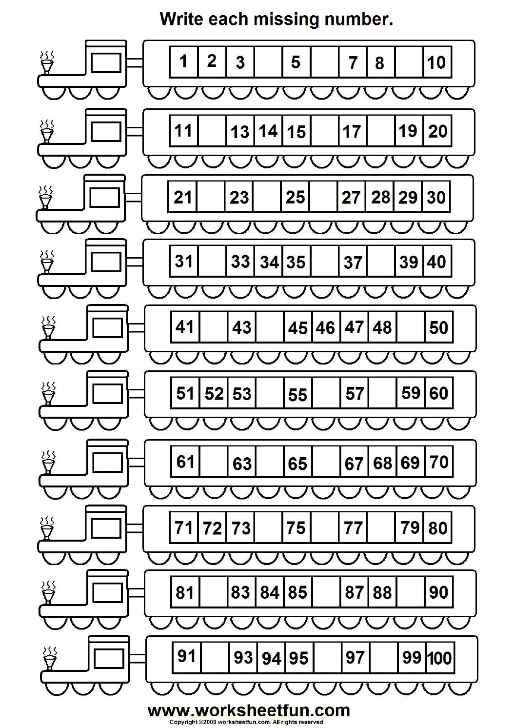 Missing Numbers 1 100 6 Worksheets Free Printable