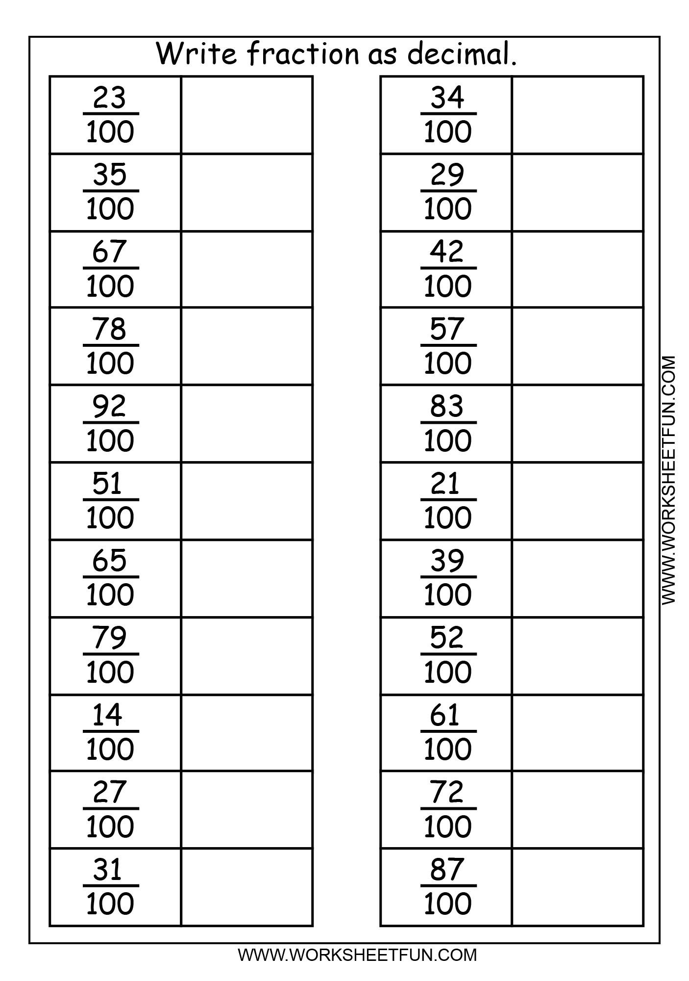 Write Fraction As Decimal 3 Worksheets Free Printable