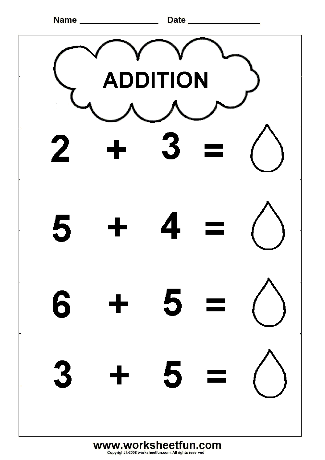 Beginner Addition 2 Kindergarten Addition Worksheets