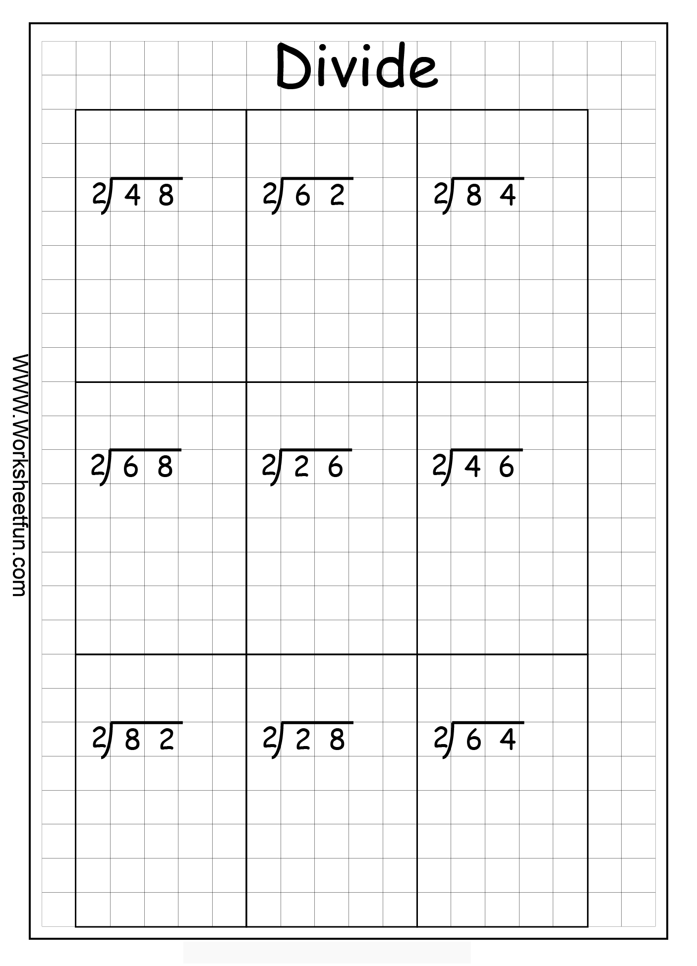 Long Division 2 Digits By 1 Digit Without Remainders