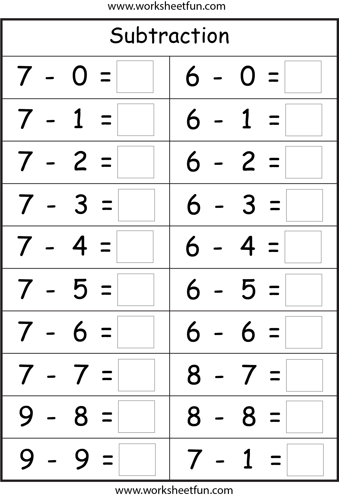 Subtraction 4 Worksheets Free Printable Worksheets