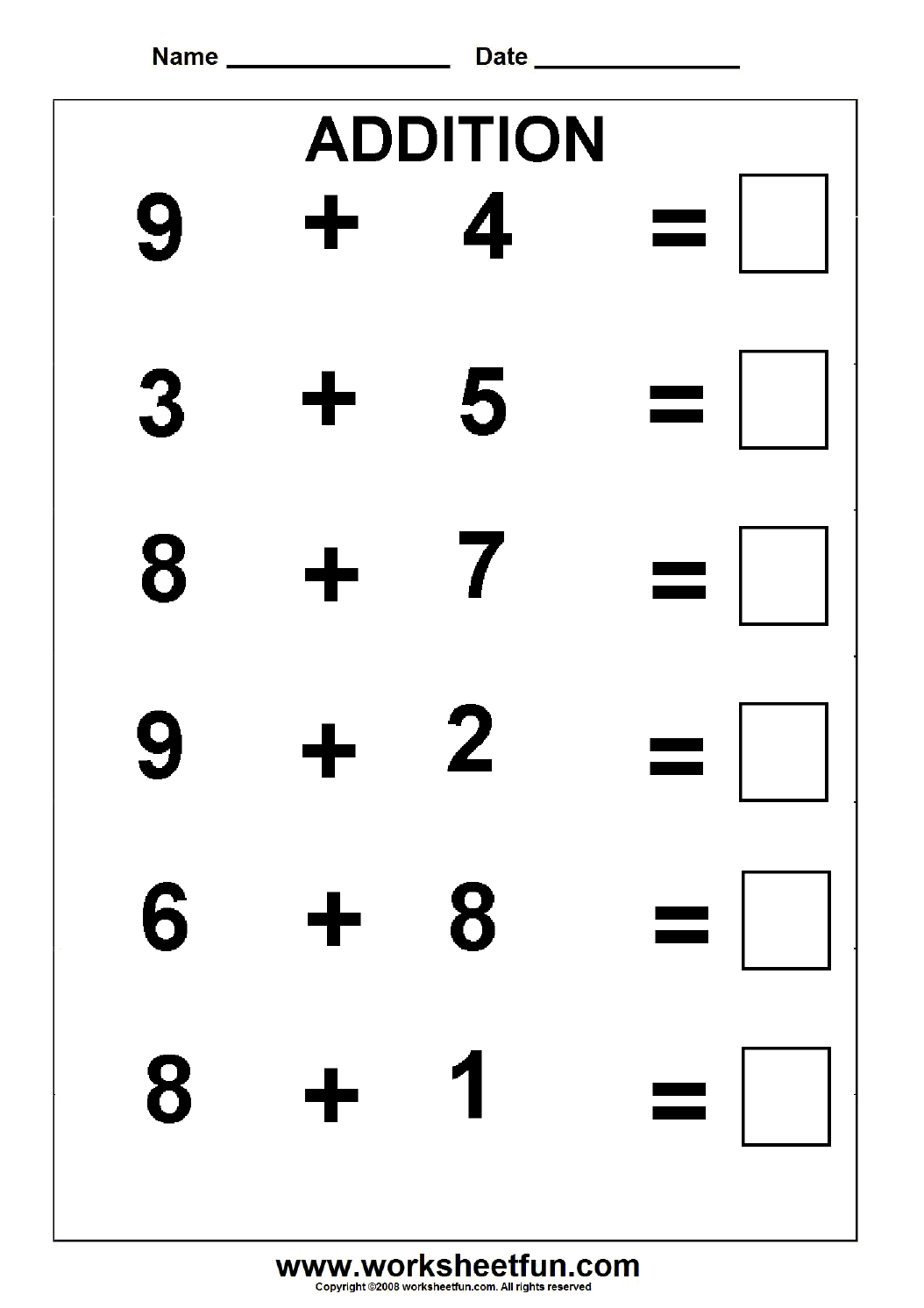 Beginner Addition 5 Kindergarten Addition Worksheets