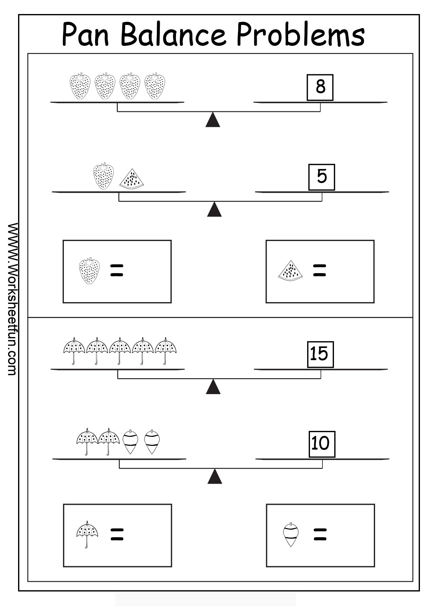 Algebra Worksheets Algebraic Reasoning Balance