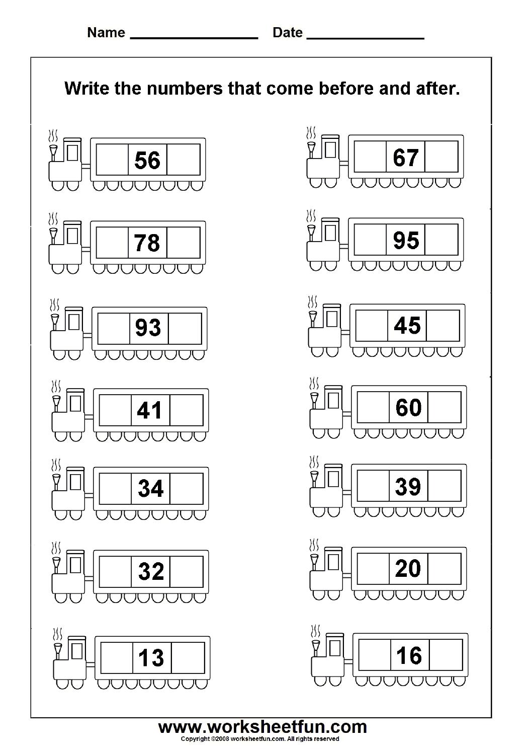 Before Amp After Numbers 2 Worksheets Free Printable