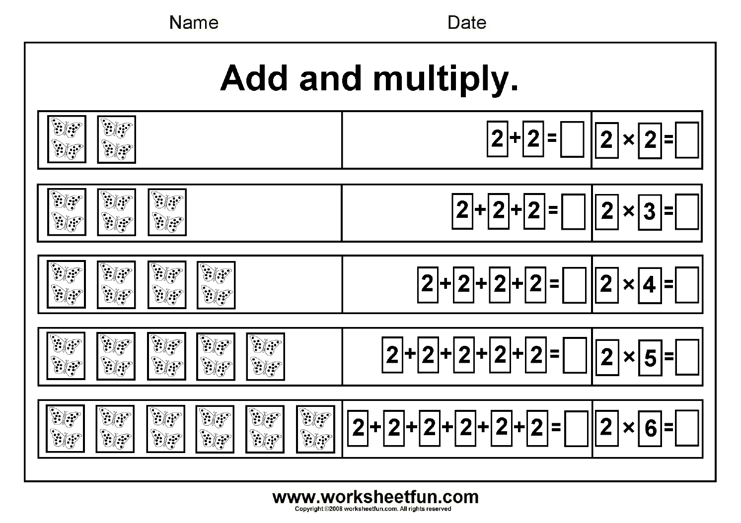 Beginner Multiplication 2 5 6 7 8 Amp 9 Add And Multiply Repeated Addition Six Worksheets