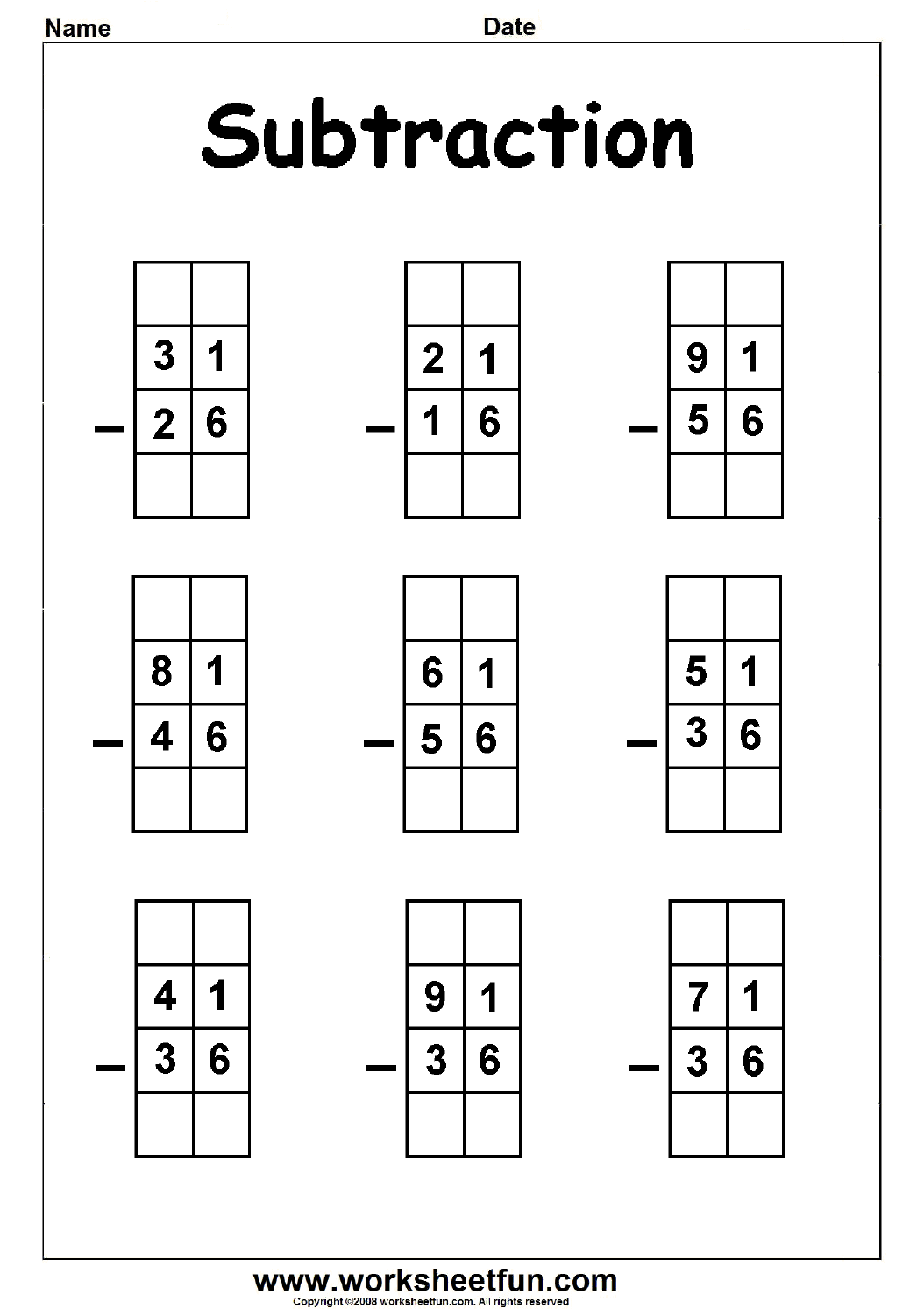 2 Digit Borrow Subtraction Regrouping 5 Worksheets