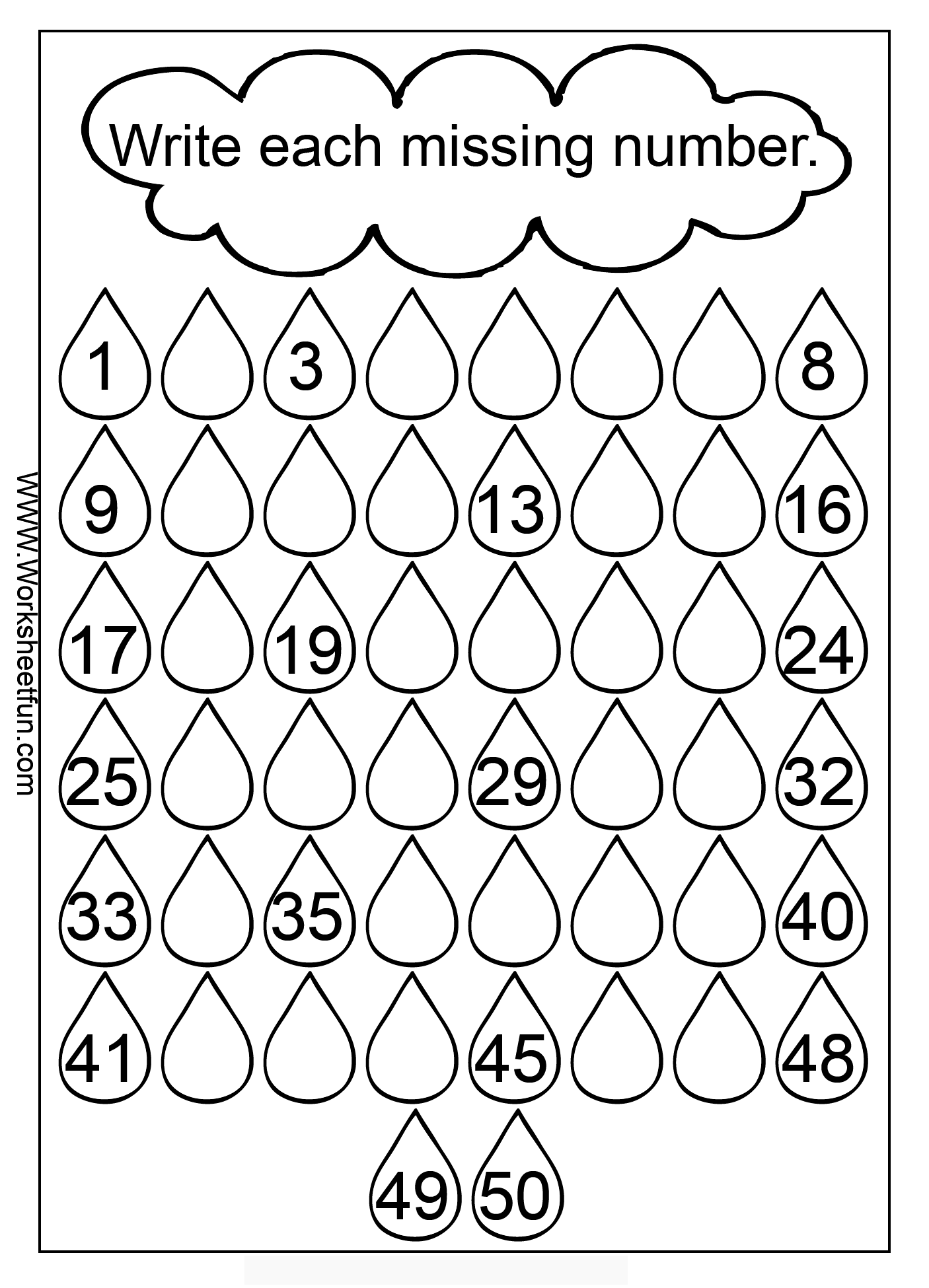 Missing Numbers 1 50 Three Worksheets Free Printable