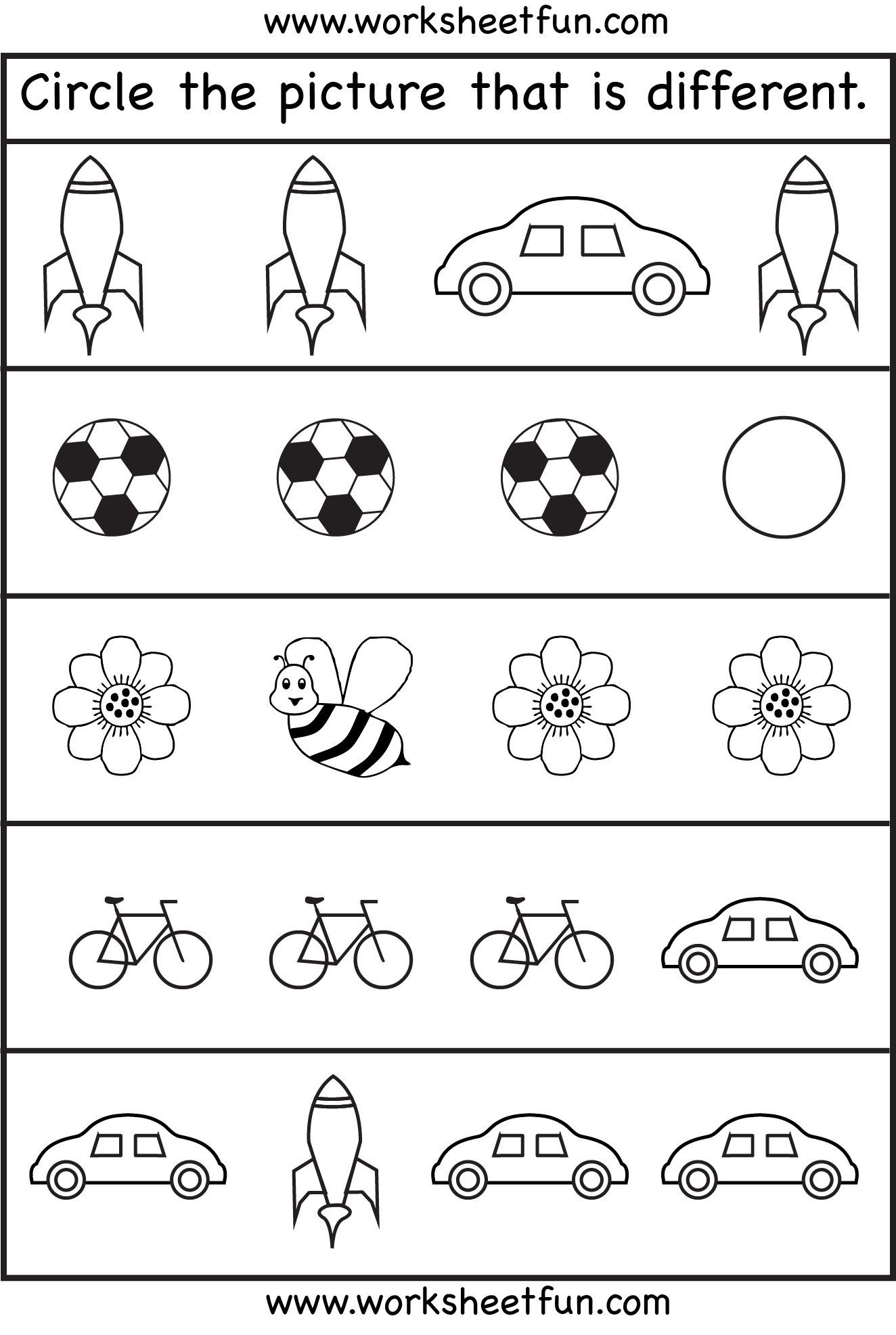 Circle The Picture That Is Different 4 Worksheets Free Printable Worksheets Worksheetfun