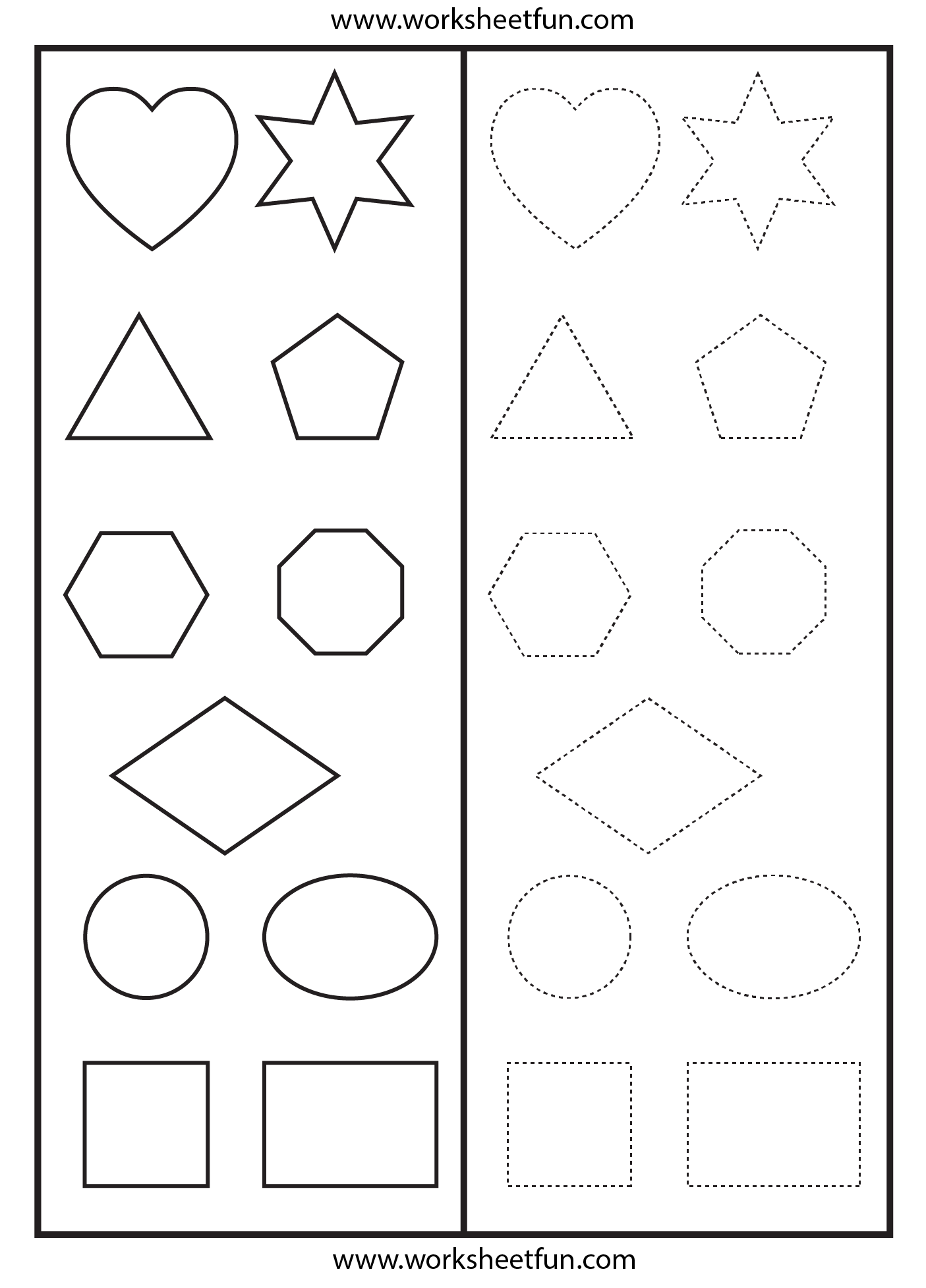 Shapes Tracing Worksheet Free Printable Worksheets Worksheetfun