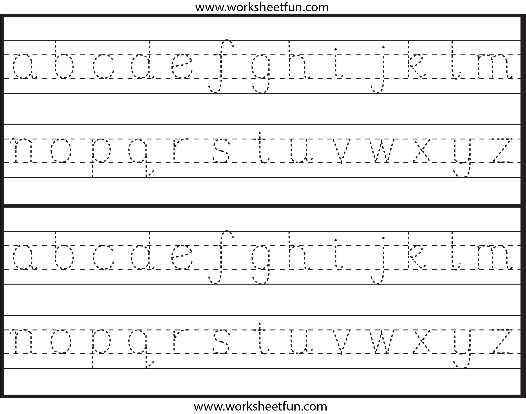 Lowercase Alphabet Tracing Worksheet