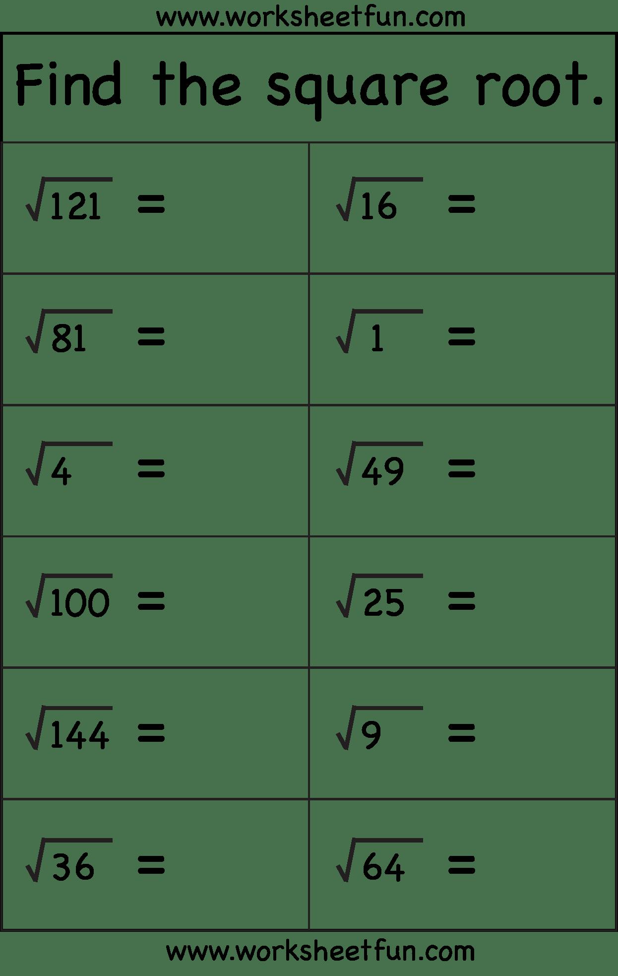 Square Root 1 Worksheet Free Printable Worksheets Worksheetfun
