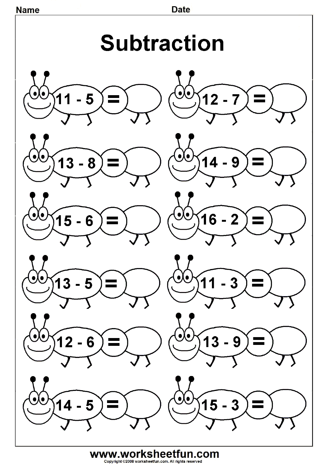 Subtraction 4 Kindergarten Subtraction Worksheets Free Printable Worksheets Worksheetfun