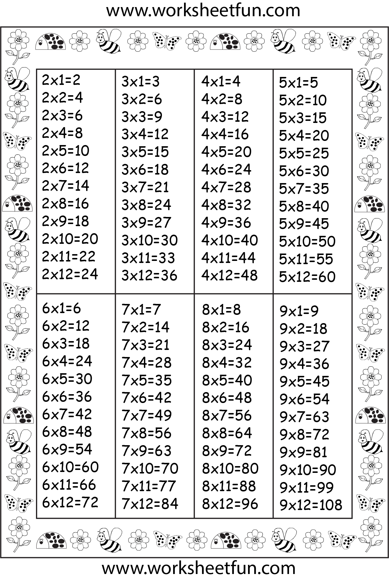 Table De Multiplication 2 3 4 5 6