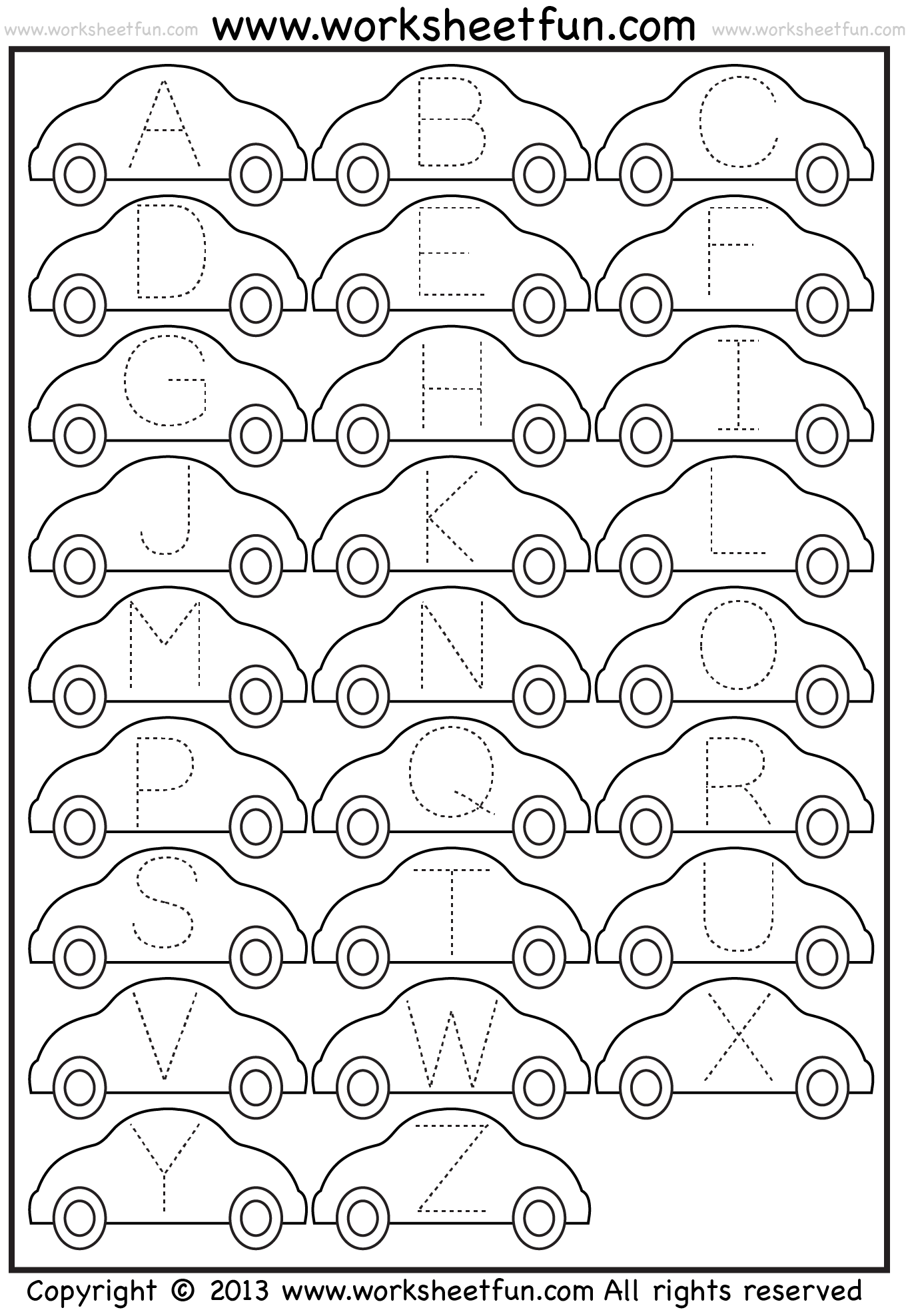 Letter Tracing Worksheet Car Free Printable Worksheets