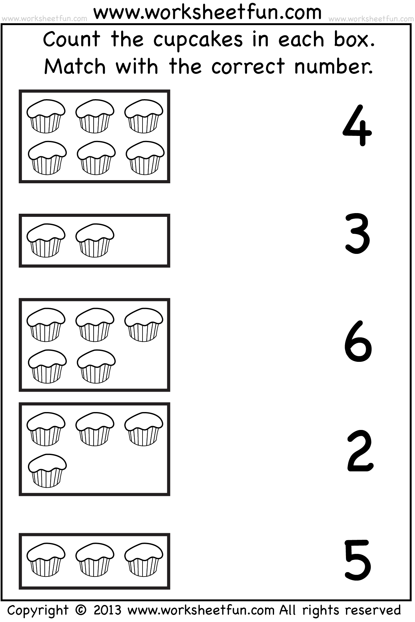 Count And Match One Worksheet Free Printable