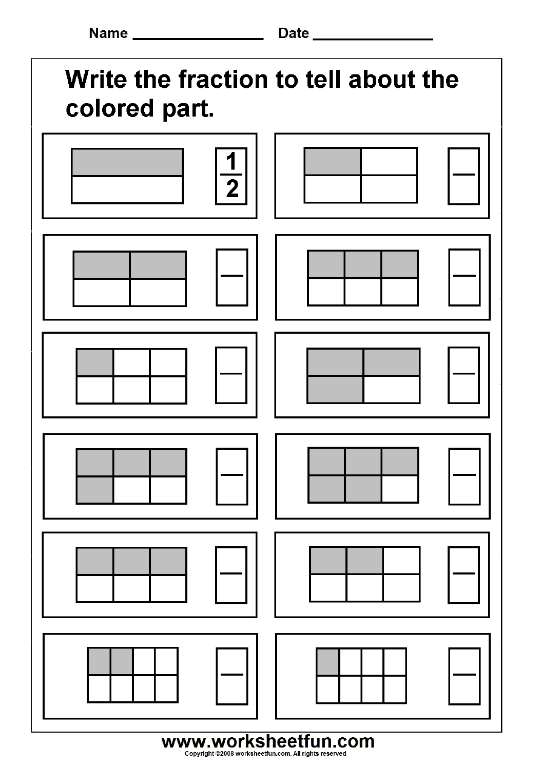Fraction Model 3 Worksheets Free Printable