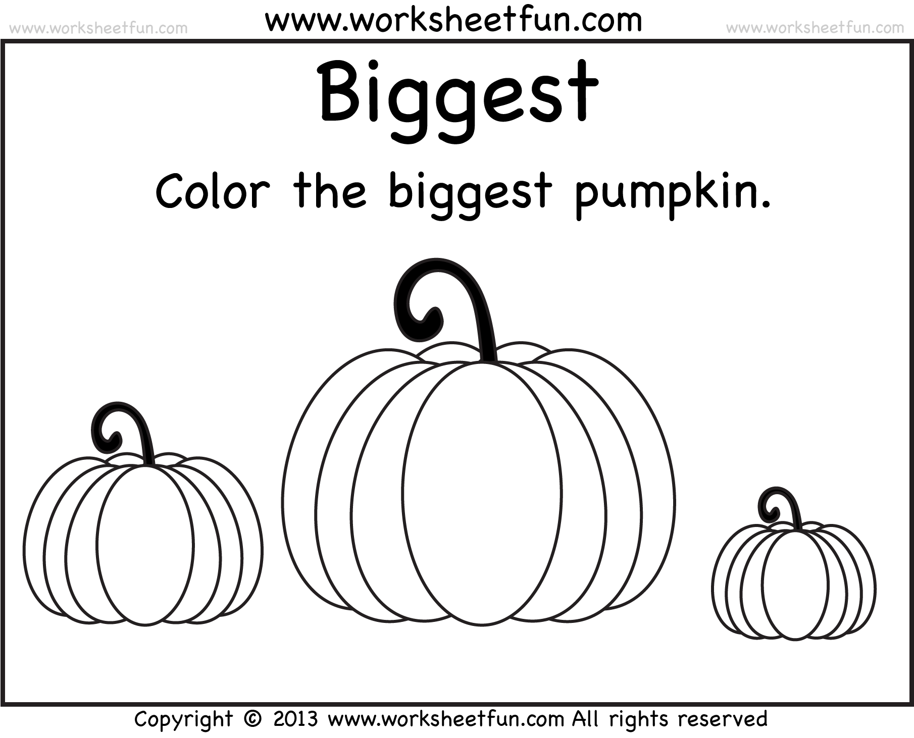 Biggest And Smallest Pumpkin 2 Worksheets Free