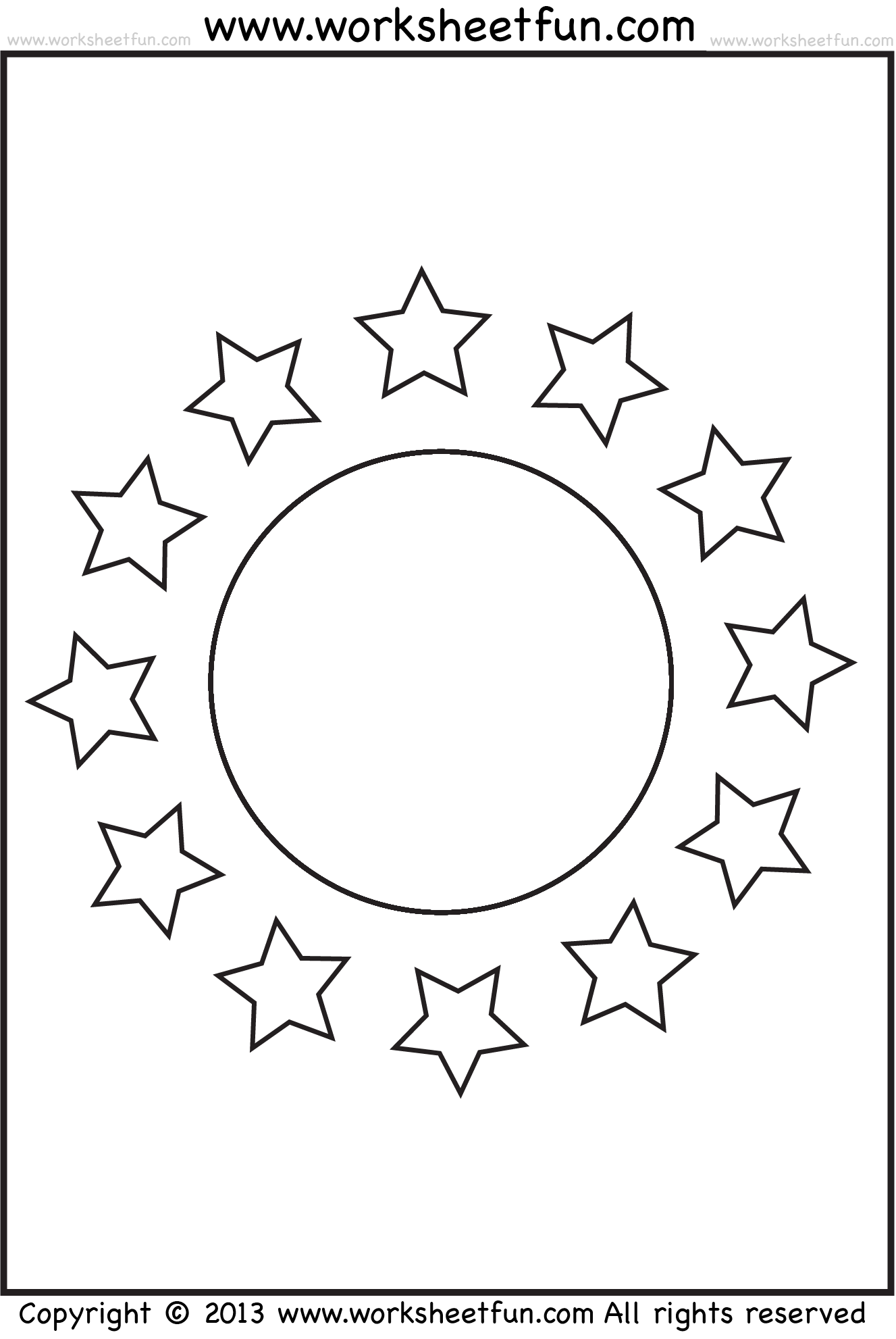 Shape Coloring Worksheet Circle And Stars Free