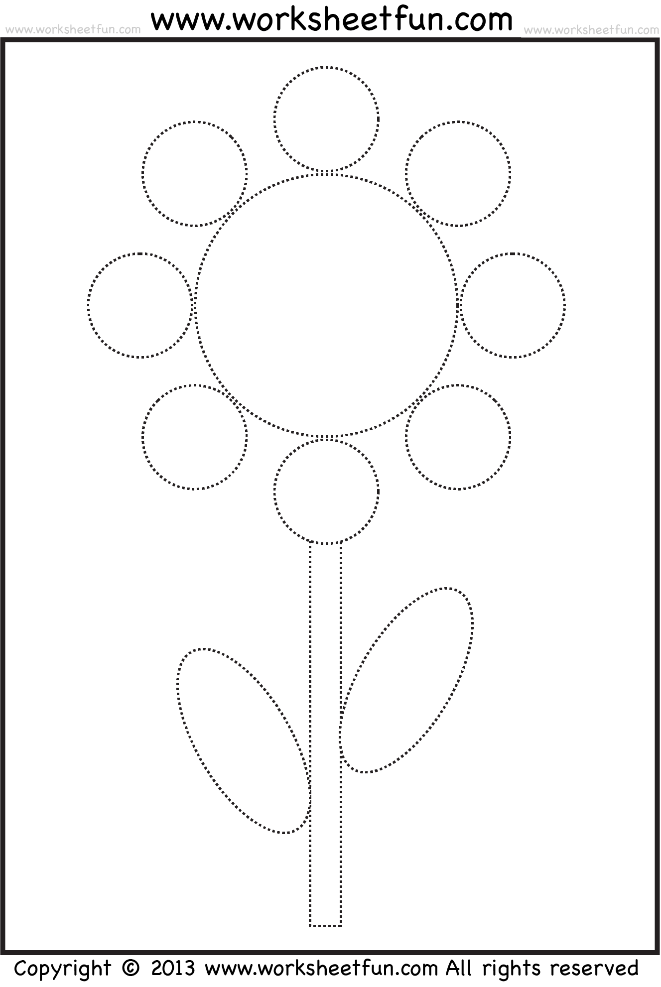 Shape Tracing And Coloring Worksheet Flower Free