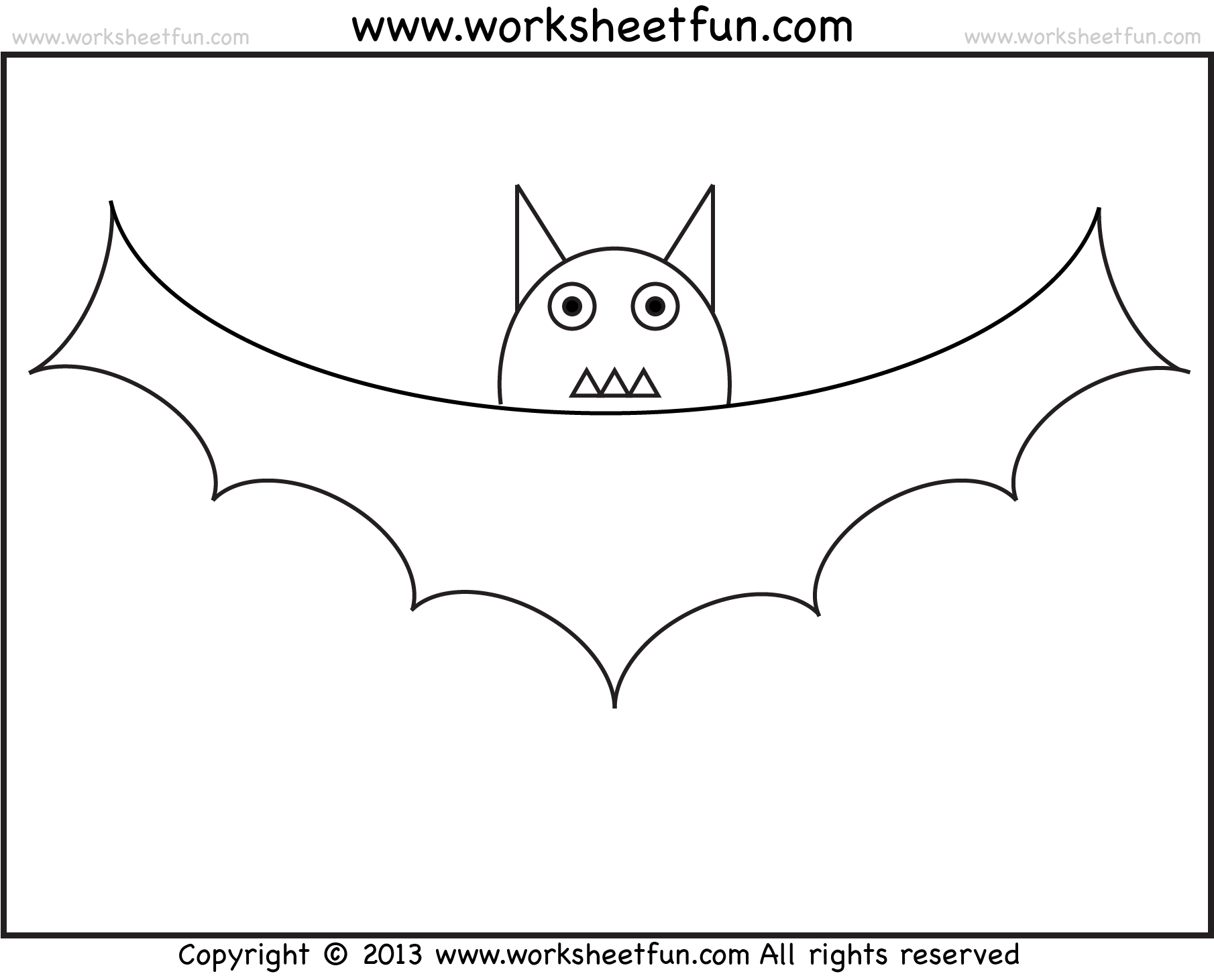 Bat Tracing And Coloring 2 Halloween Worksheets Free