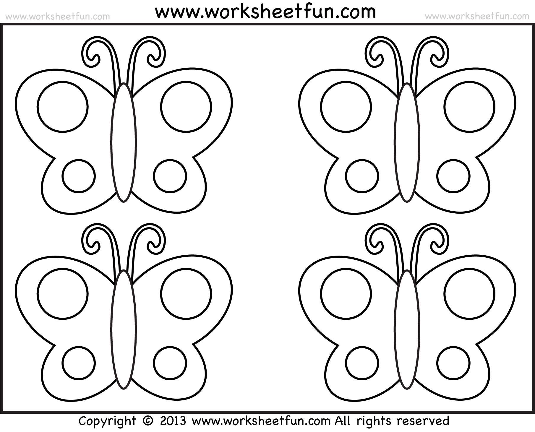 Butterfly Tracing And Coloring 4 Preschool Worksheets