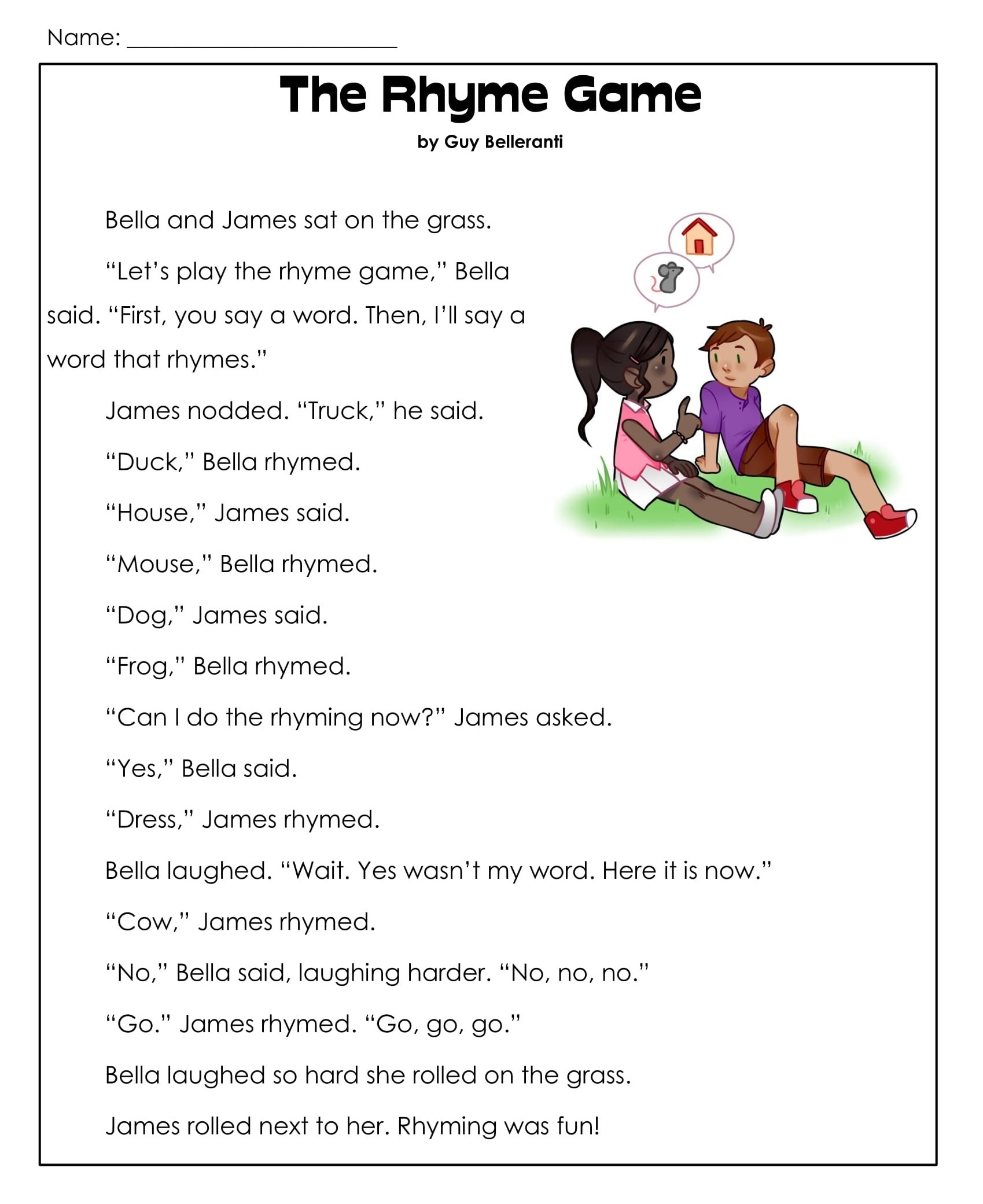 1st Grade Reading Comprehension Worksheets Printable