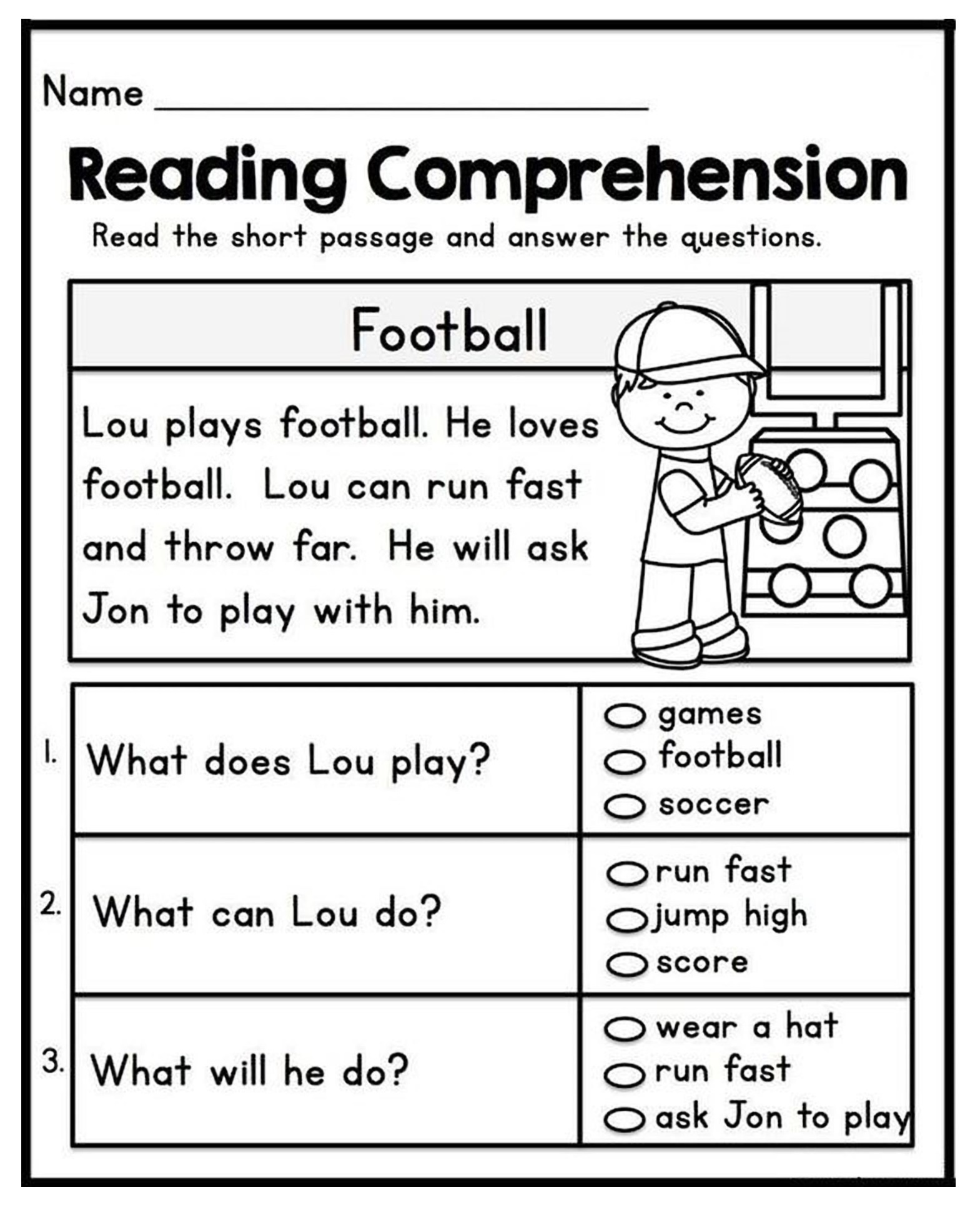 1st Grade Reading Comprehension Worksheets Printable