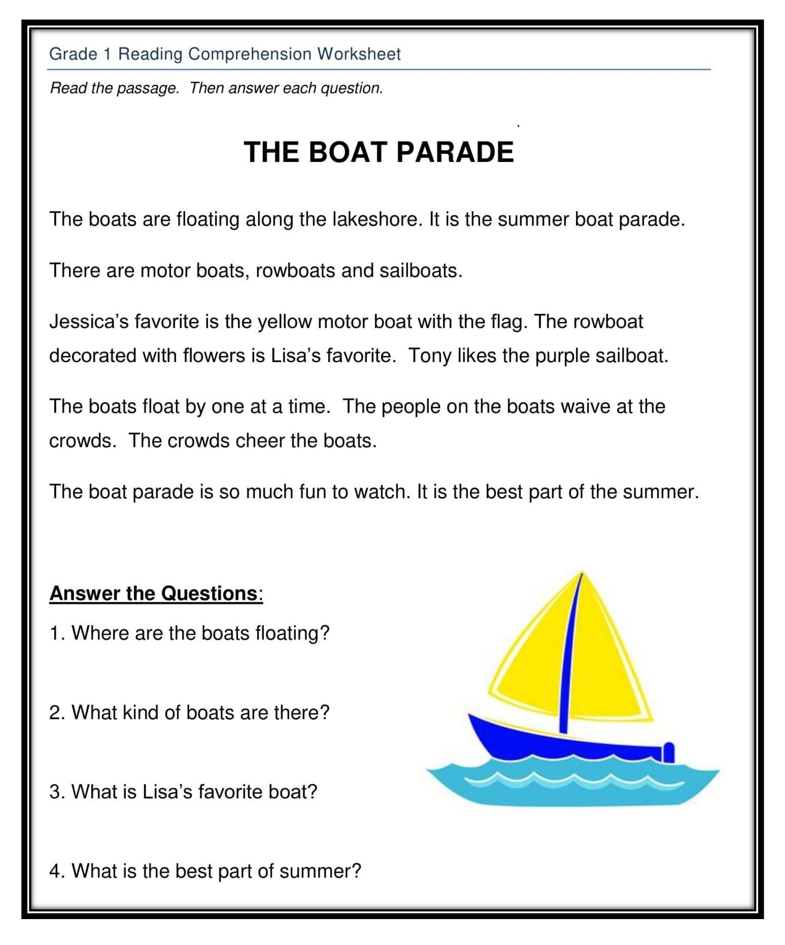 Grade 1 Reading Worksheet