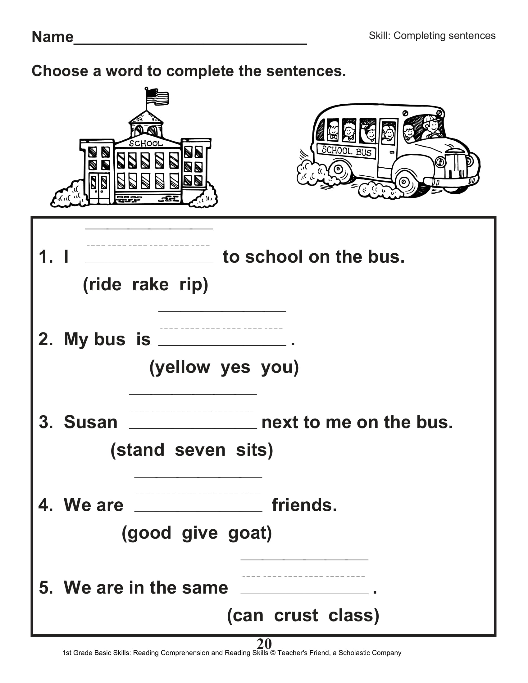 40 Scholastic 1st Grade Reading Comprehension Skills Worksheets